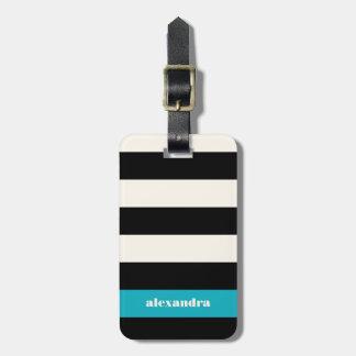 Modern Black, Cream & Turquoise Stripe Luggage Tag