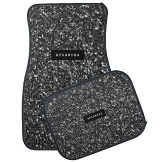 Modern Black Faux Glitter Monogram Car Mat