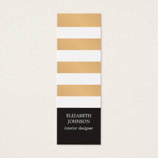 Modern Black Faux Gold Striped Interior Designer Mini Business Card