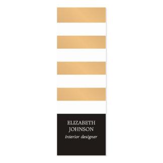 Modern Black Faux Gold Striped Interior Designer Pack Of Skinny Business Cards