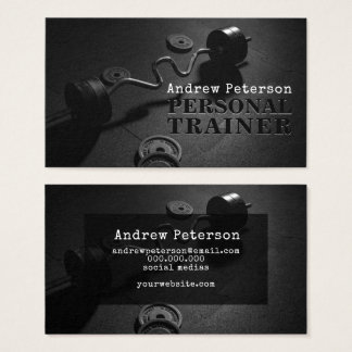 Modern black fitness personal trainer workout business card