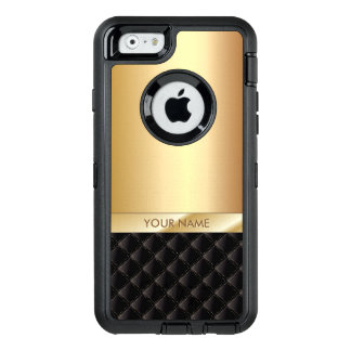 Modern Black & Gold Custom Name OtterBox Defender iPhone Case