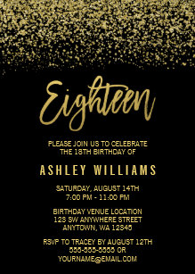 Modern Black Gold Faux Glitter 18th Birthday Invitation