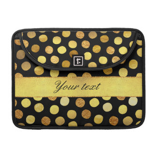 Modern Black Gold Foil Confetti Dots Sleeves For MacBook Pro