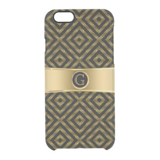 Modern Black & Gold Geeky Geometric Design Clear iPhone 6/6S Case