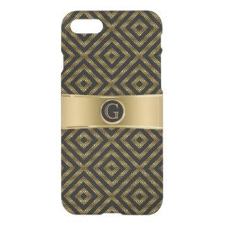Modern Black & Gold Geeky Geometric Design iPhone 7 Case