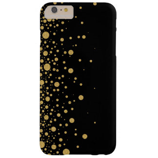 Modern Black & Gold Glitter Random Circles Design Barely There iPhone 6 Plus Case