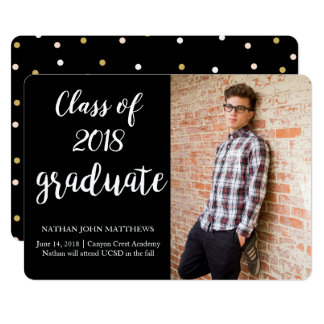 Modern Black Gold Graduation Announcement Card