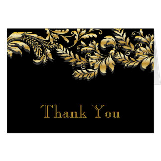 Modern Black & Gold Leaf Flourish Thank You Note Card