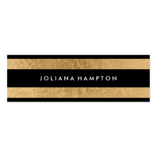 Modern Black Gold Luxe Business Card, foil skinny Pack Of Skinny Business Cards