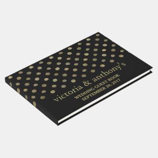 Modern Black & Gold Polka Dots Wedding Guest Book