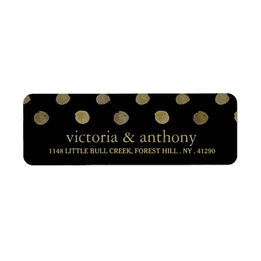 Modern Black & Gold Polka Dots Wedding Return Address Label