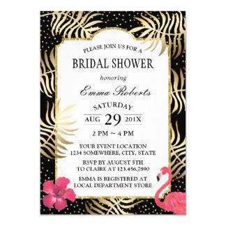 Modern Black & Gold Tropical Beach Bridal Shower Card