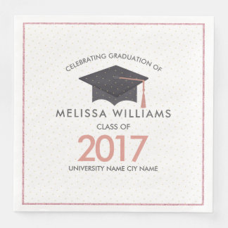 Modern Black Graduation Hat Class Of 2017 Paper Serviettes