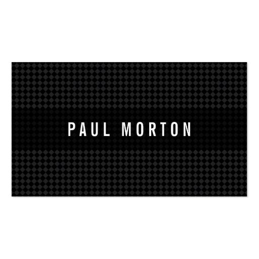 Modern black gray checkers elegant stylish dark business cards