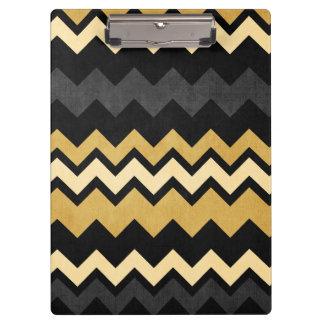 Modern Black Gray Gold Chevron Pattern Clipboards