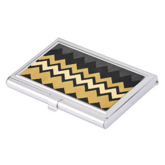 Modern Black Gray Gold Chevron Pattern Floral Business Card Cases
