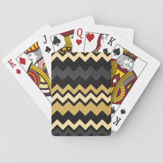 Modern Black Gray Gold Chevron Pattern Deck Of Cards