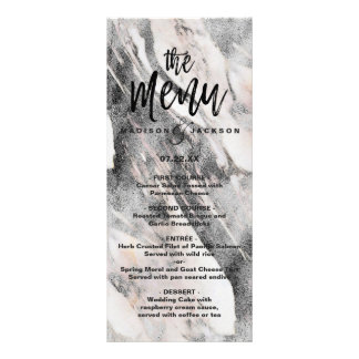 Modern Black & Gray Marble Wedding Menu