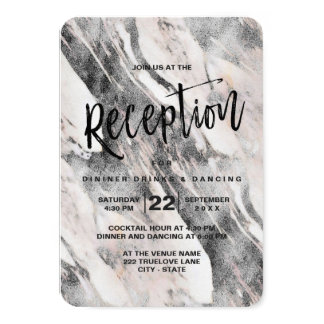 Modern Black & Gray Marble Wedding Reception Card