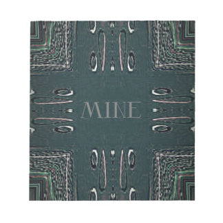 Modern Black Gray 'Mine' Goth Pattern Notepad