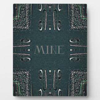Modern Black Gray 'Mine' Goth Pattern Plaque