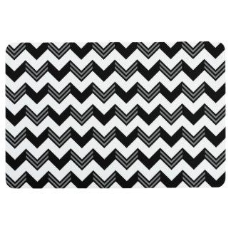 Modern Black, Gray, White Zigzag Chevron Pattern Floor Mat