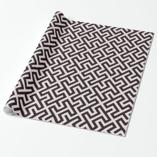 Modern black greek key geometric pattern monogram wrapping paper