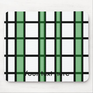Modern black green and white grid pattern mouse pad
