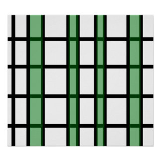 Modern black green and white grid pattern poster