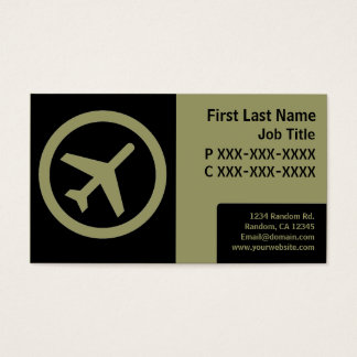 Modern black green simple airplane cards