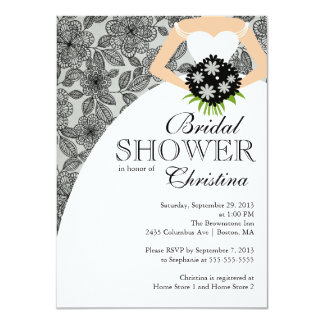 Modern Black Grey floral Bride Bridal Shower Personalized Invitations