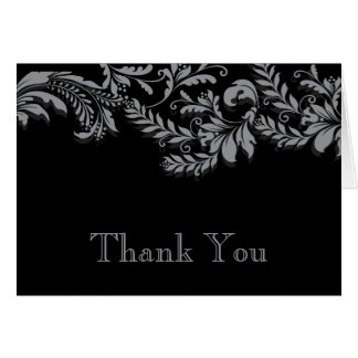 Modern Black & Grey Leaf Flourish Thank You Note Card