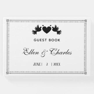 Modern Black Hearts Wedding Guest Book