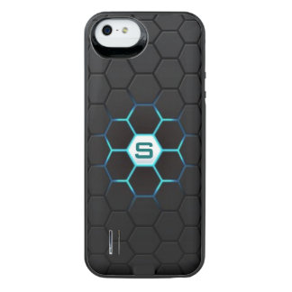 Modern Black Hexagonal Glow Pattern Personalized iPhone SE/5/5s Battery Case