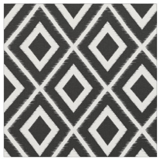 Modern Black Ikat Pattern Fabric