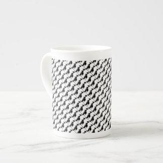 Modern black kangaroo symbol bone china mug
