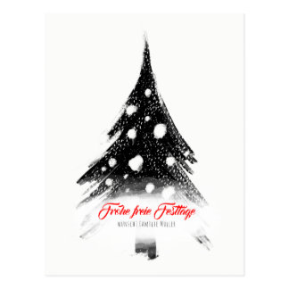 Modern black knows Christmas Postcard