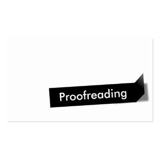 Modern Black Label Proofreading Business Card