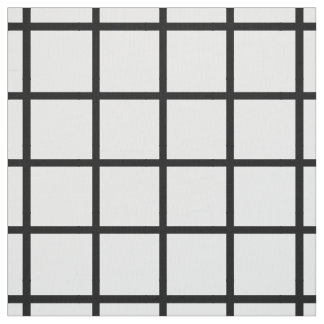 Modern Black Lattice on White Fabric