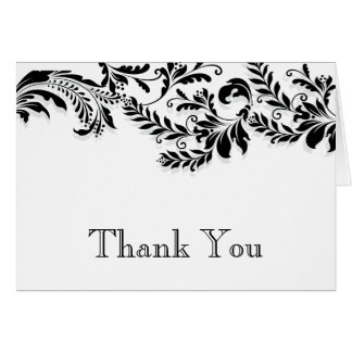 Modern Black Leaf Flourish Thank You Note Card
