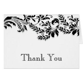 Modern Black Leaf Flourish Thank You Note Note Card