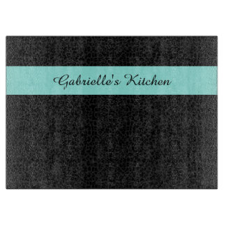 Modern Black Leopard Print Aqua Stripe With Name Cutting Board