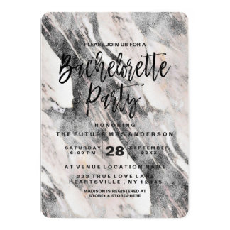 Modern Black Marble Bachelorette Party Invitation