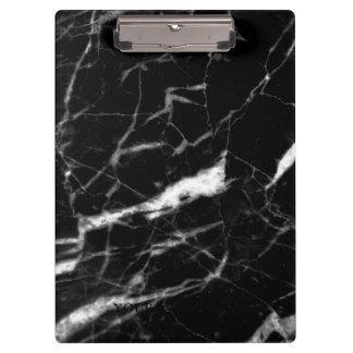 Modern Black Marble Designer Personalized Clipboard