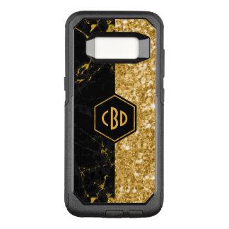 Modern Black Marble & Gold Glitter Design GR2