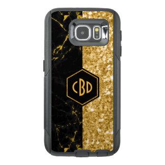 Modern Black Marble & Gold Glitter Design GR2 OtterBox Samsung Galaxy S6 Case