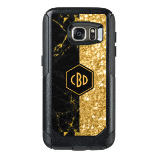 Modern Black Marble & Gold Glitter Design GR2 OtterBox Samsung Galaxy S7 Case