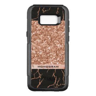 Modern Black Marble Stone & Rose-Gold Glitter OtterBox Commuter Samsung Galaxy S8+ Case