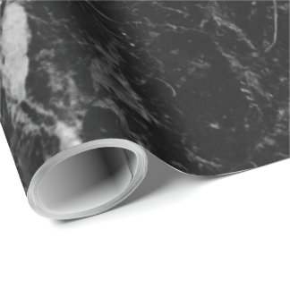 Modern Black Marble Stone Wrapping Paper